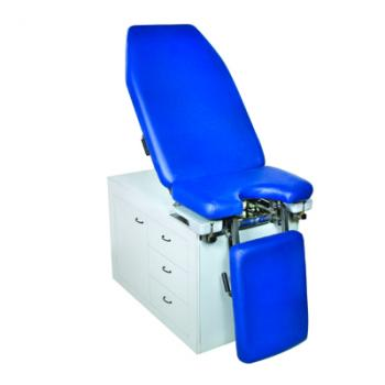 A gynecological chair of a fixed height,cabinet
