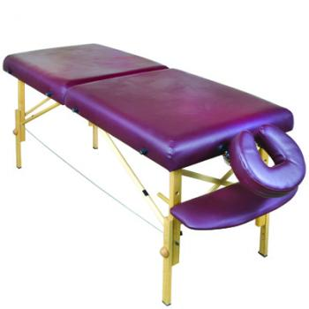 A folding wooden treatment bed with adjustable height